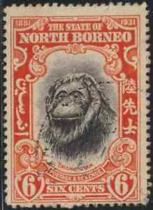 NORTH-BORNEO-1931-PICTORIAL-6c-ORANG-UTAN-MONKEY-USED-B-CAT-RM-15