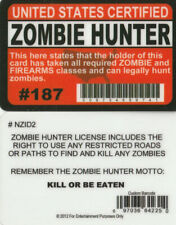 Zombie Hunter Permit Id Federal Free Shipping