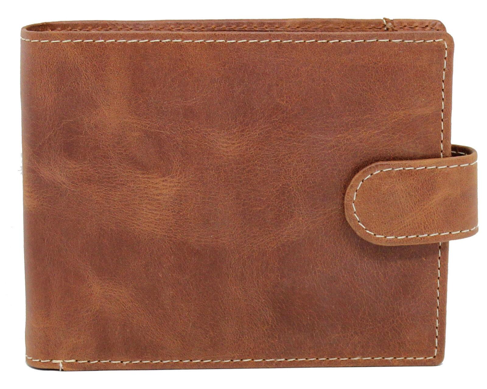 Mens Designer RFID Blocking Quality Brown Distressed Crunch Leather Wallet 4021