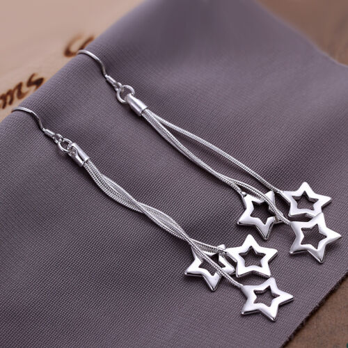 HOT wholesale solid silver fashion jewelry 3line/&star drop Earrings XUSE161