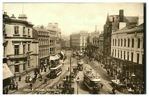 Vintage-postcard-Castle-Place-Belfast-Northern-Ireland-tram-cars-W-E-Walton