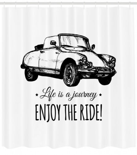 Ride Quote Pattern Shower Curtain Fabric Decor Set with Hooks 4 Sizes