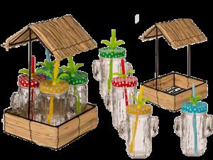 Trinkglas-Set-mit-4-Glaesern-Kaktus-Tablett-Becher-Strohhalm-Garten-Sommer-Party