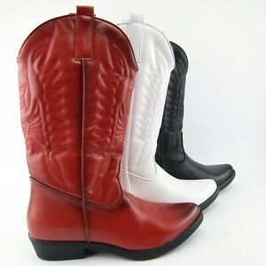 stivali-texani-cowboy-ecopelle-bianchi-rossi-neri-ricamati-punta