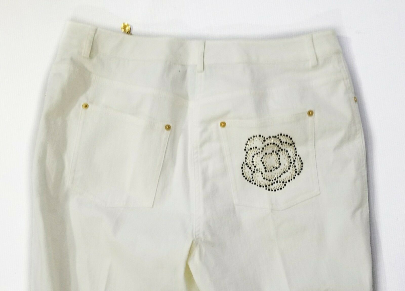 ST JOHN JEANS Womens Winter White Ivory Cropped Jeans Size 12
