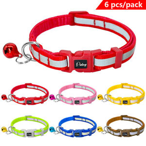 6x-Reflective-Small-Dog-Collars-for-Pet-Puppy-Cat-Quick-Fit-Adjustable-w-Bell