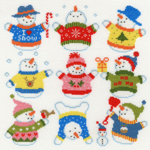 Bothy Threads ~ puntada cruzada contada Kit ~ ligeramente Dotty muñecos de nieve ~ XEJ5