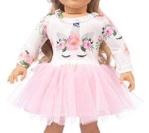 Puppen-Kleidung-Puppen-Kleid-mit-rosa-Tuell-fuer-42-cm-bis-45-cm-Puppen-199-a