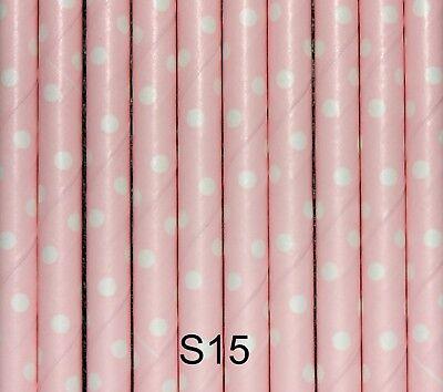 Rosa E Bianco Polka Dot Cannucce, Biodegradabile, Compleanno, Baby Shower, Confezione Da 25-