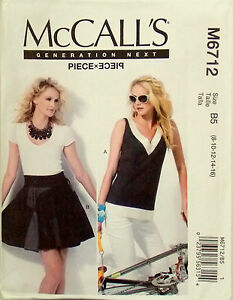 McCALL-039-S-SEWING-PATTERN-M6712-MISSES-039-TOP-LOOSE-FIT-amp-SKIRT-8-16-OR-16-24