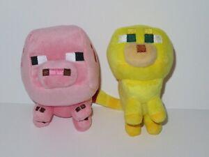 Minecraft-Baby-Ocelot-Lion-Pig-Plush-Stuffed-Animal-Toy-Doll-LOT-Mojang-Piglet