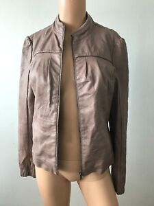 Pull-amp-Bear-Salmon-Colour-Faux-Leather-Vegan-Zip-Up-Bomber-Jacket-Size-Small