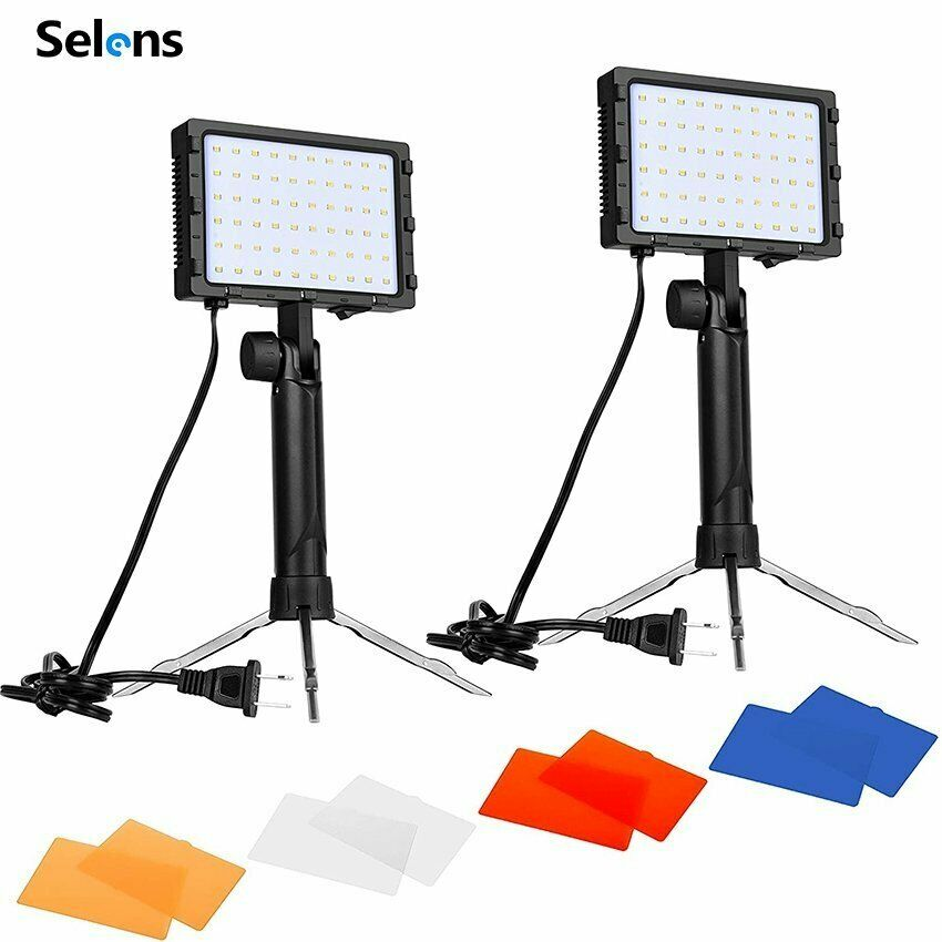 2PC LED Portable Photography Studio Lighting Kit w/ Color Filters f Photo Video