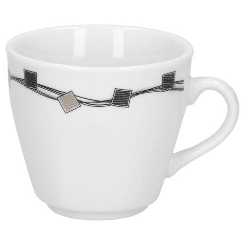 6er Set Espresso Tasses avec soucoupes Casetta Porcelaine Blanc Décor Moka Tasses