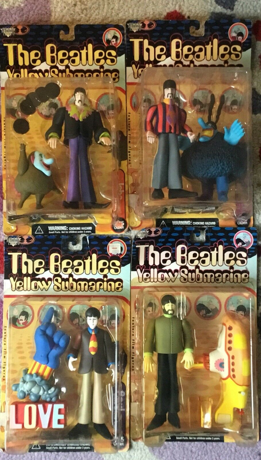 BRAND NEW 1999 McFarlane Beatles The Yellow Submarine 8  Action Figure Set of 4