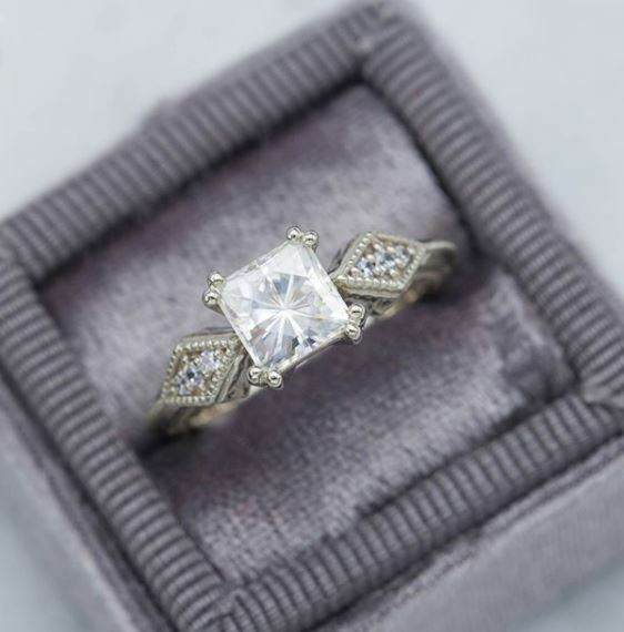 2Ct Princess Cut Brilliant Moissanite Engagement Ring Solid in 14K White gold