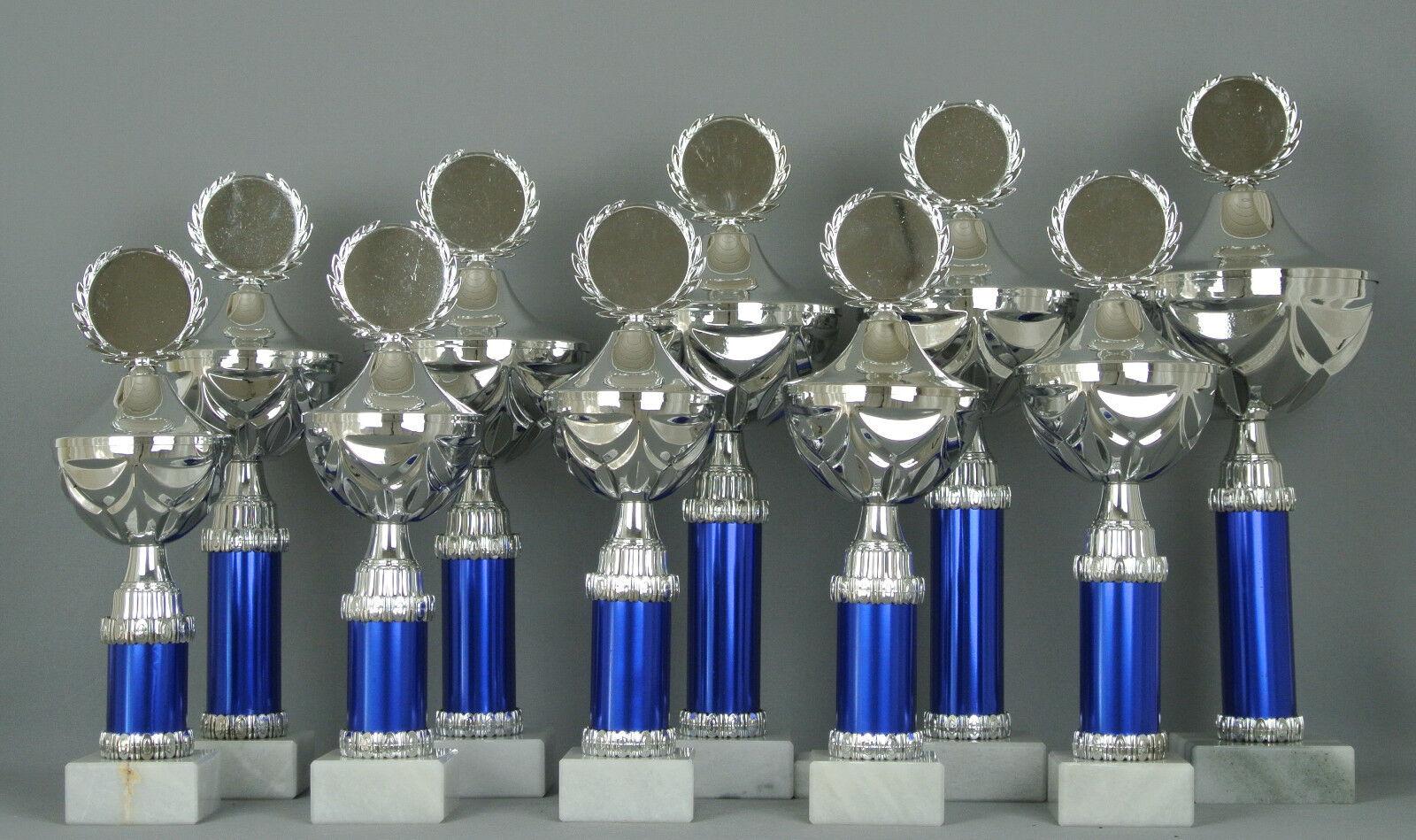 10er Serie Pokale   29-39cm(Ø    90-140mm)   mit Gravur+Emblem   kompl. montiert 97010c