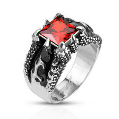 Stainless Steel Fire Dragon Claw Set Ruby Red Square Gem Cast Ring