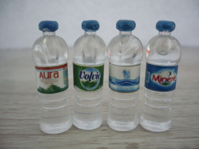 4 Bottles of Drinking Water with Aura/Volvic/Singha/Minere' Dollhouse Miniatures