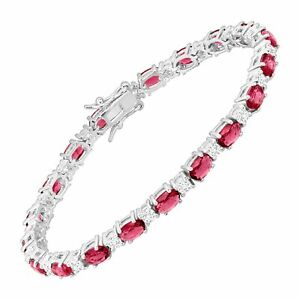 Created Ruby & White Sapphire Tennis Bracelet in Sterling Silver, 7.25
