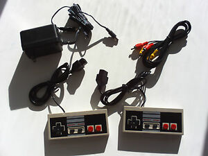 New-2-Controllers-AC-Adapter-Power-Cord-AV-Video-Cables-Fits-Nintendo-NES