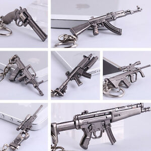 Cross-Fire-CF-Mini-Pistol-AWM-MP5-AUG-A1-Submachine-GUN-Metal-Keychains-Keyrings