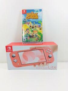 Nintendo Switch Lite Coral Animal Crossing Bundle + Game ...