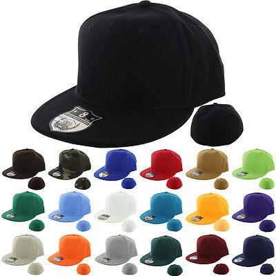 Plain Fitted Cap New Baseball Hat Solid Flat Bill Visor Blank Color Basic Sport