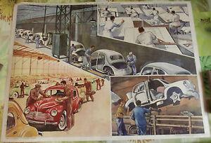 Tableau-Pedagogique-Vintage-Fabrication-4cv-Metallurgie-1953-76x56cm-Dinky