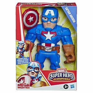 Playskool-Heroes-Marvel-Super-Hero-Adventures-Mega-Mighties-10-034-Captain-America