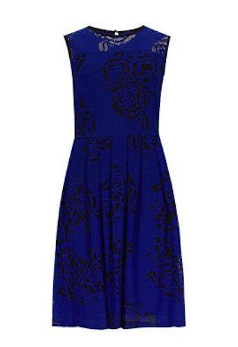 Marks and Spencer Cobalt Blue épuisement professionnel rose design SKATER PROM DRESS SIZE 8-18