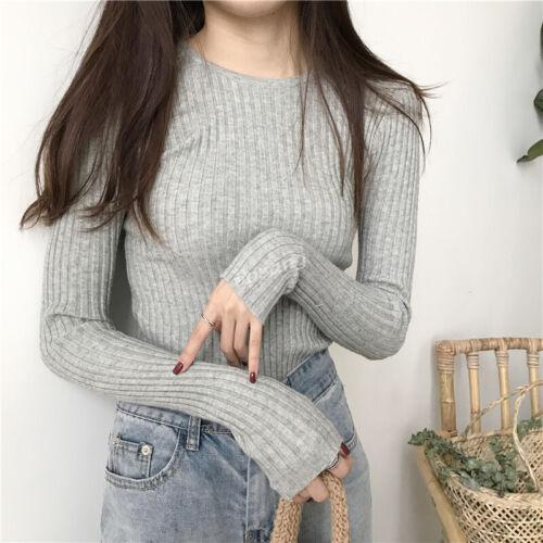 Korean Women Stretch Slim Fit Crew Neck Pullover Basic Knit Top T-shirt Sweater