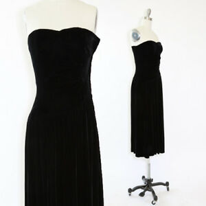 32692b2ae085 Image is loading Vintage-80s-silk-velvet-tube-top-midi-dress-