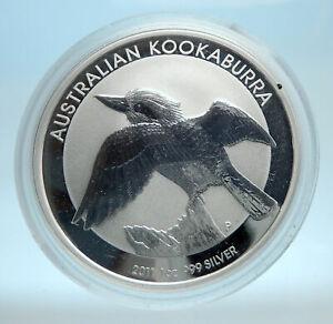 2011-AUSTRALIA-Kookaburra-Bird-Tree-1-oz-Silver-1-Dollar-Australian-Coin-i77556