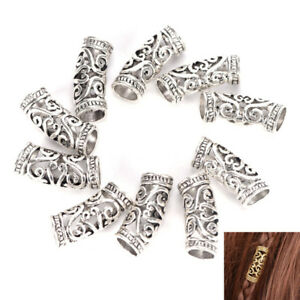 10-PCS-Hair-Braid-Beads-Dreadlock-Bead-Cuff-Clip-Metal-Hair-Braid-Ring-Silver-TW