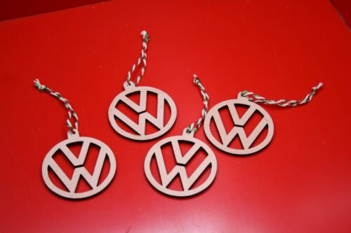 4 x VW Logo Christmas Tree Decorations Laser Cut From Plywood With Candy Cane St