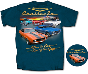 Cruise-In-Chevy-Impala-Camaro-Chevelle-Back-Graphic-Blue-Men-039-s-T-shirt-L-Large