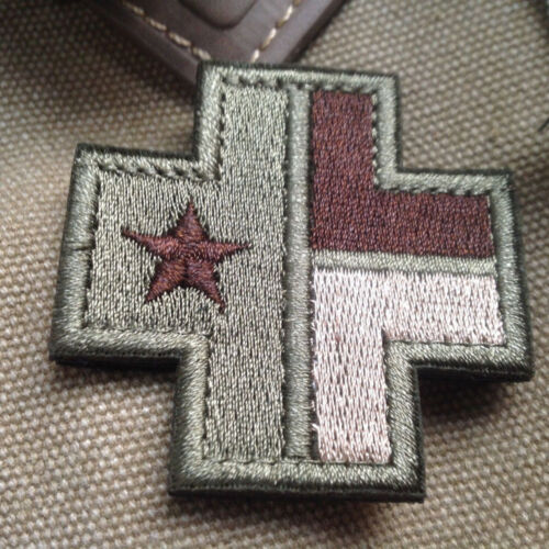 MEDIC CROSS TEXAS STATE FLAG US Tactical EMBROIDERED BADGE 3D ARMY PATCH