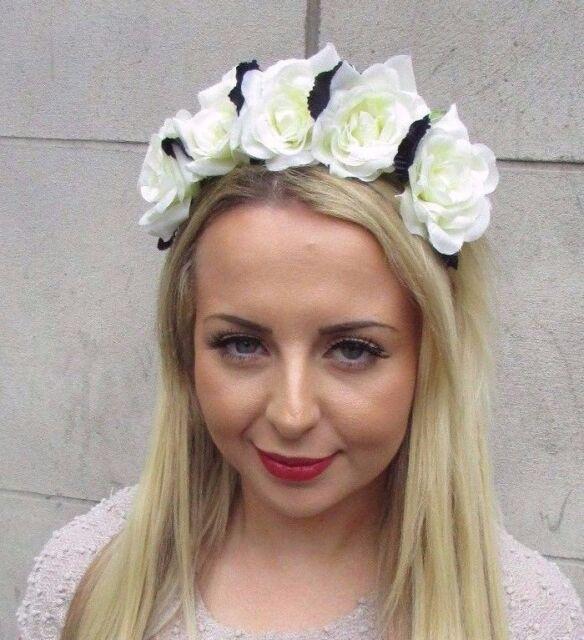 Ivory Cream Navy Blue Rose Flower Garland Headband Bridesmaid Hair Crown  3210 e498886d274