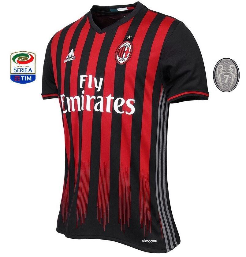 Trikot Adidas AC Mailand 2016-2017 Home  Serie A Europapokal Milan  | Bevorzugtes Material