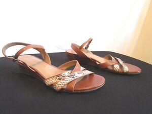 8fa852e5b990 Gerry Weber Brown Leather Snake Print Ankle Strap Sandals Shoes Sz ...