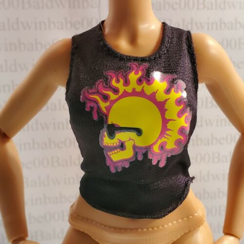 6A~WILD HEARTS CREW ~ DOLL RALLEE RADMORE FLAMING SKULL TANK TOP SHIRT ACCESSORY