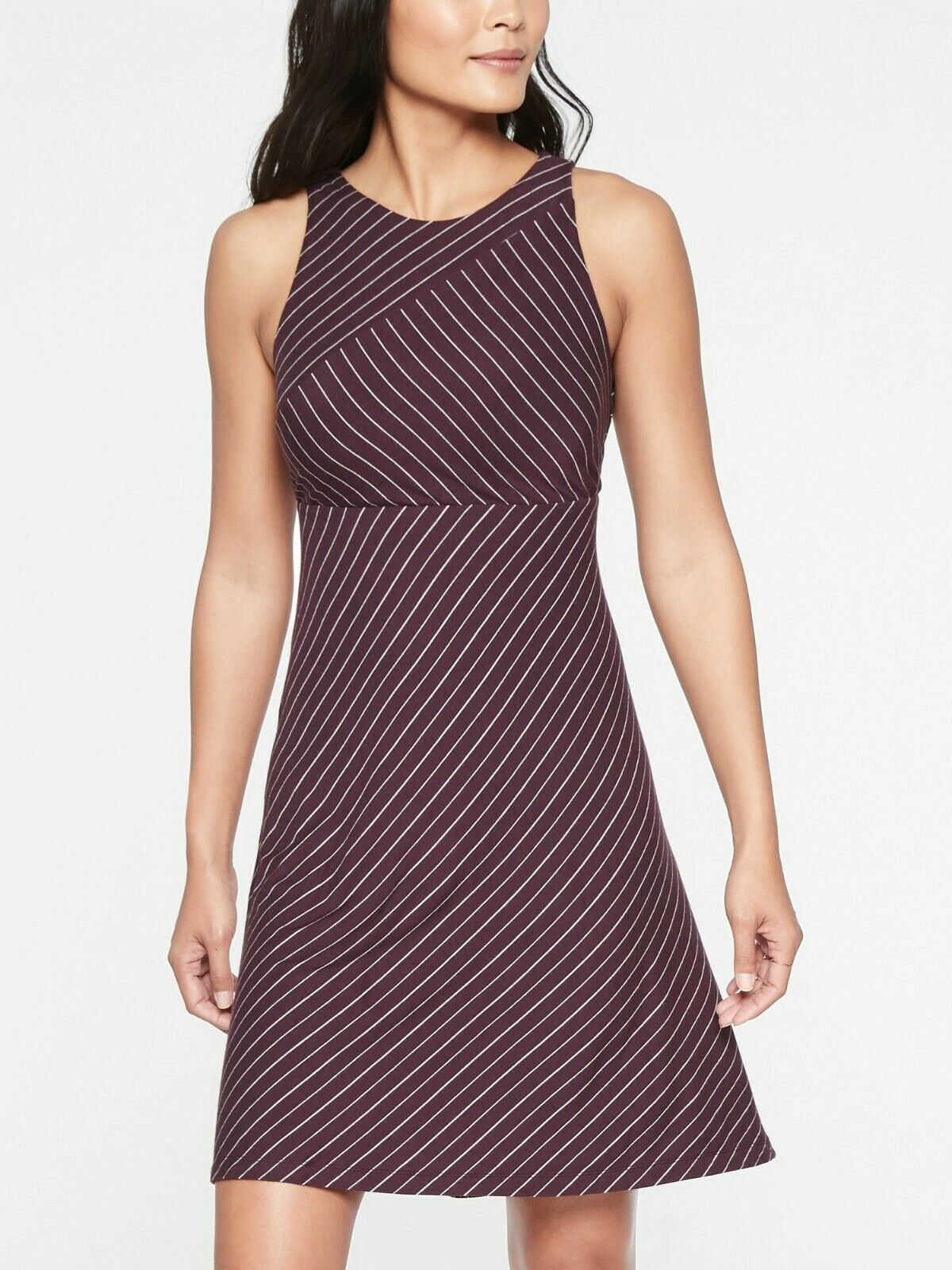 Athleta Santorini High Neck Mix Stripe Dress,Go Stripe Spiced C Größe L