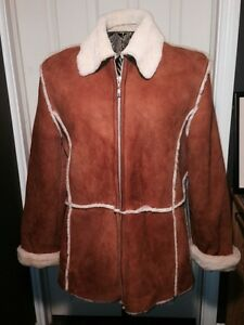 Autunno Collezione Shearling/100% Sheepskin Coat Tan Sz M Coat