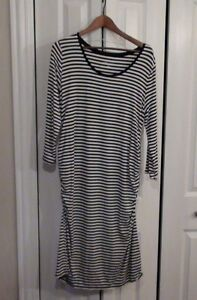 NEW Liz Lange Maternity Dress Womens Navy Blue & White Striped Size XL
