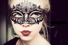 New Black Luxury Metal Filigree Laser Cut Venetian Masquerade Mask w/Rhinestones