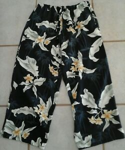 Island-Traders-Cropped-Pants-Womens-SizeS-Rayon-Washable-Pockets-Draw-StringCool