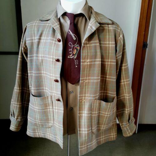 1940s Vintage Wool Plaid Jacket Blazer 44R