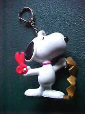 Miniature Peanuts Snoopy with Scissors Cutting Out Gold Hearts Key Chain