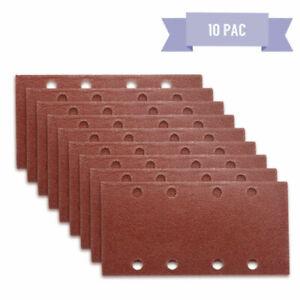 10-x-1-3-Punched-Sanding-Sheets-93-x-190mm-Sandpaper-Pads-Sander-Hook-and-Loop